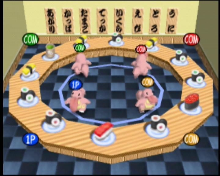 Pokémon Stadium Nintendo 64 Lickitung are feasting on sushi - but don't eat the wasabi!