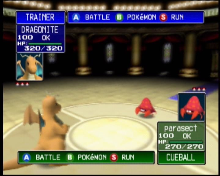 Pokémon Stadium Nintendo 64 Dragonite faces off against Parasect