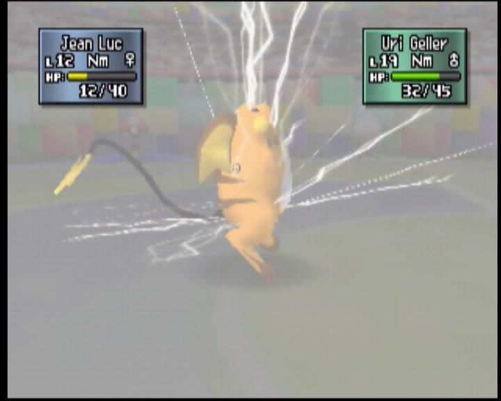Pokémon Stadium 2 Nintendo 64 Raichu preparing to thundershock