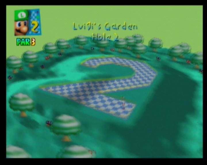 Mario Golf Nintendo 64 This second hole requires a lot of bouncing off walls