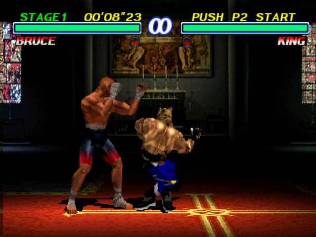 Tekken 2 PlayStation King winds up for the kick.
