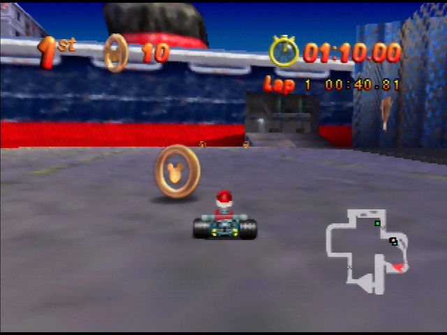 Mickey's Speedway USA  Nintendo 64 You'll drive through the inside of this ship