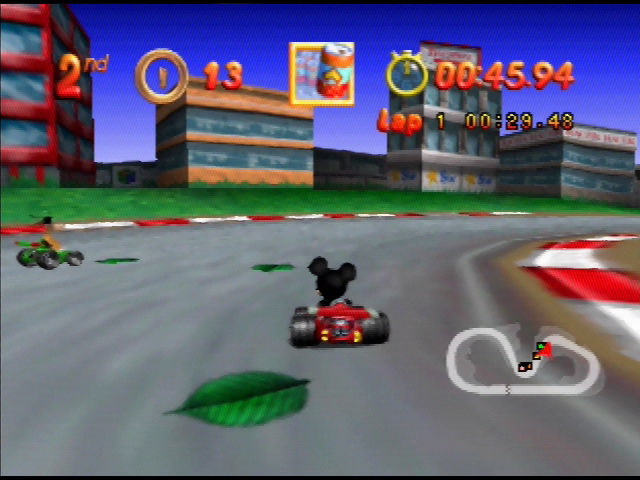 Mickey's Speedway USA  Nintendo 64 Leaves fly up as you drive over them