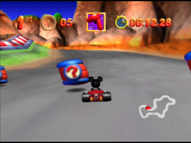 Mickey's Speedway USA  Nintendo 64 These cans hold powerups - run into them to get one