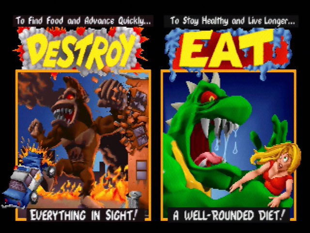 Rampage World Tour Nintendo 64 The Attract mode screens from the arcade version are still intact