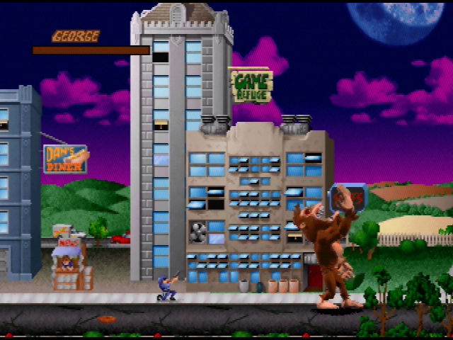 Rampage World Tour Nintendo 64 George eats some people