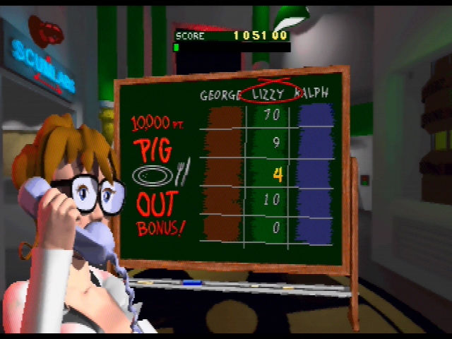 Rampage World Tour Nintendo 64 At the end of each level, your points are tallied and you may receive a bonus like this