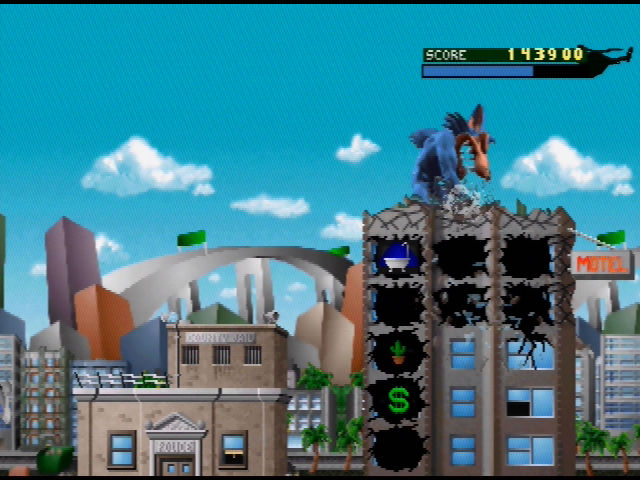 Rampage World Tour Nintendo 64 Repeatedly punch the roof of the building to demolish it quickly
