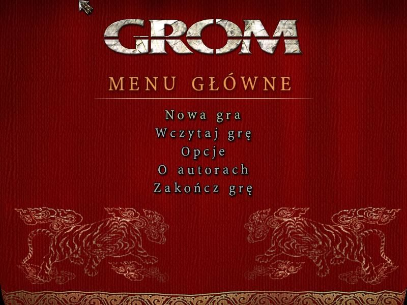 GROM: ...Terror in Tibet! Windows Main menu (Polish version)