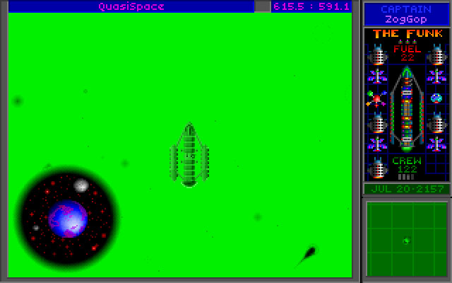 Star Control II DOS QuasiSpace, with the Arilou homeworld in view.
