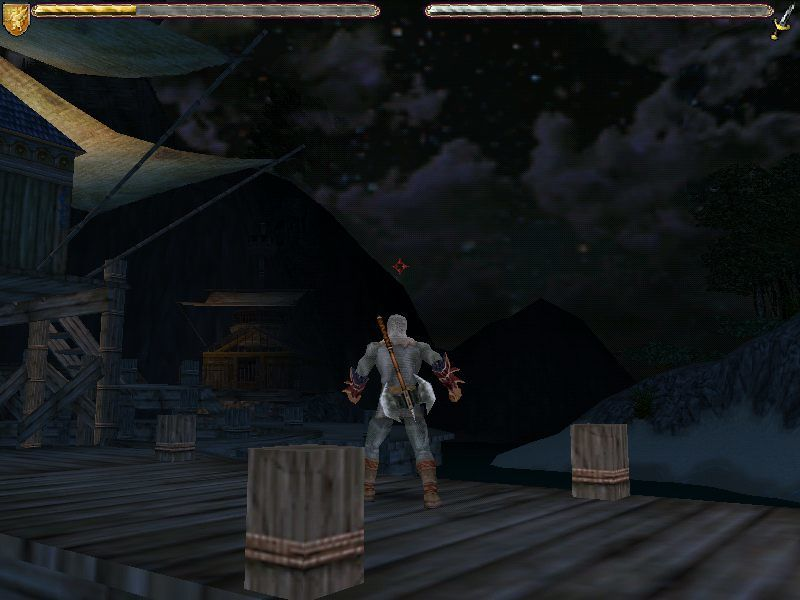 Ultima IX: Ascension Windows At night at the docks. Clad in chainmail now. Nice ax, too!..