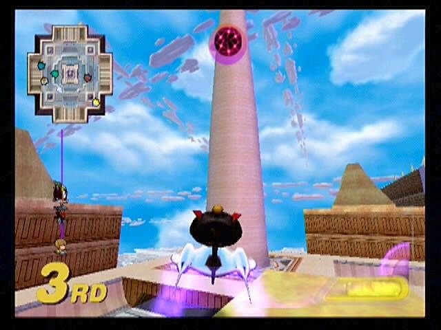 Star Wars: Super Bombad Racing PlayStation 2 The White Tower. Amidala and pals race below the crowded Coruscant skyways.