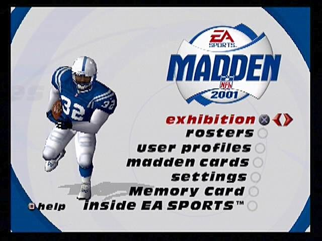 Madden NFL 2001 PlayStation 2 A pretty large playbook. The animated opening menu leads you to the many options in available in this edition of Madden Football.