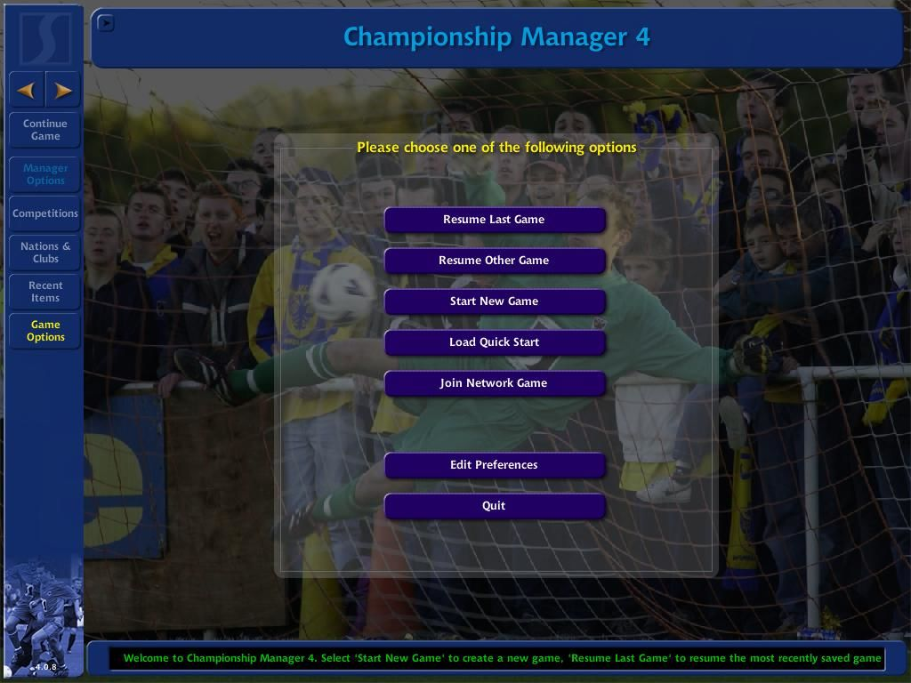 Championship Manager 4 Windows Main Menu