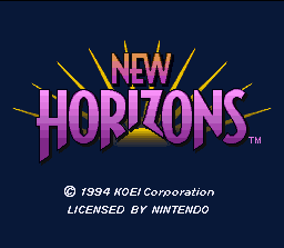 New Horizons SNES Title screen.