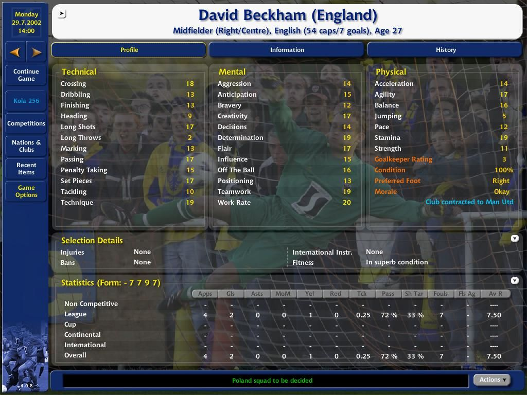 Championship Manager 4 Windows Player information