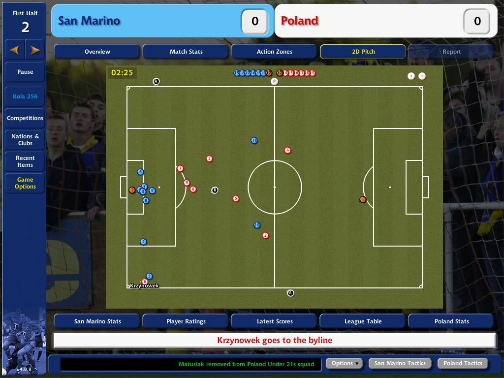 Championship Manager 4 Windows 2D Pitch