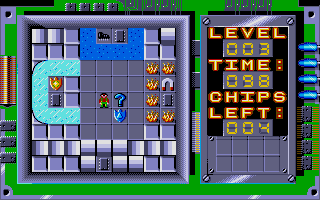 Chip's Challenge Atari ST Level 3 has many power-ups, needed at different times