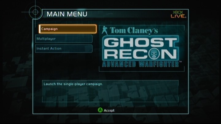 Tom Clancy's Ghost Recon: Advanced Warfighter Xbox 360 Main menu