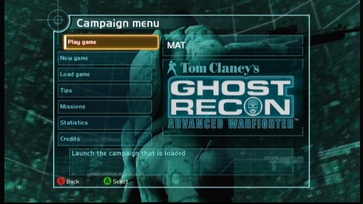 Tom Clancy's Ghost Recon: Advanced Warfighter Xbox 360 Campaign menu