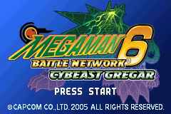 Mega Man Battle Network 6: Cybeast Gregar Game Boy Advance Title Screen