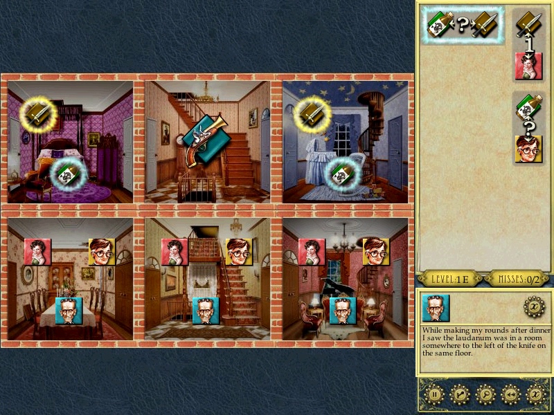 Inspector Parker Windows When you click on a clue, it will highlight the items on the board.