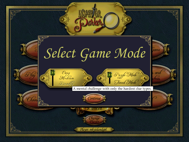 Inspector Parker Windows Selecting game mode & difficulty levels