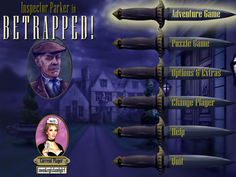 Inspector Parker in Betrapped! Windows Title Screen/Main Menu