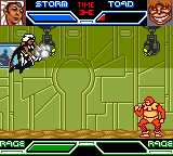 X-Men: Mutant Academy Game Boy Color Storm uses a wind attack on Toad