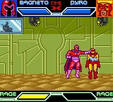 X-Men: Mutant Academy Game Boy Color Magneto has Pyro immobilized.