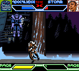 X-Men: Mutant Academy Game Boy Color Storm does a tornado throw on Apocalypse
