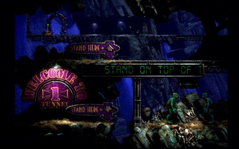 Oddworld: Abe's Exoddus PlayStation A tunnel level early in the game. Interacting with other Mudokons is important