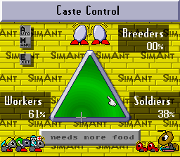 SimAnt: The Electronic Ant Colony SNES The Caste control menu.  Use it to set what kinds of ants will be produced.