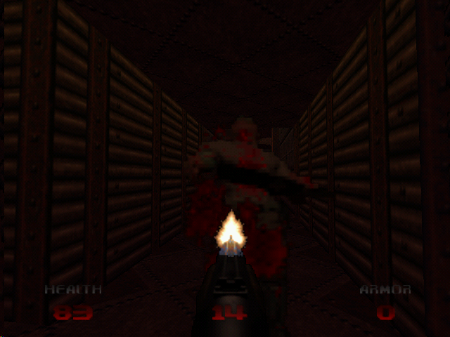 DOOM 64 Nintendo 64 Shotgunning zombies in a hallway