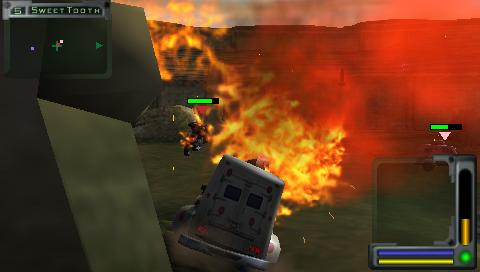 Twisted Metal: Head-On PSP Sweet Tooth at fire