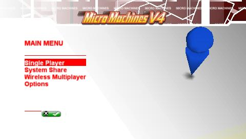 Micro Machines V4 PSP Main menu