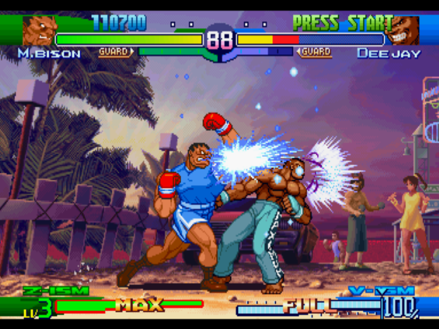 Street Fighter Alpha 3 PlayStation M. Bison (Balrog) uses his Dash Upper move against Dee Jay: now, the Jamaican fighter is in trouble!
