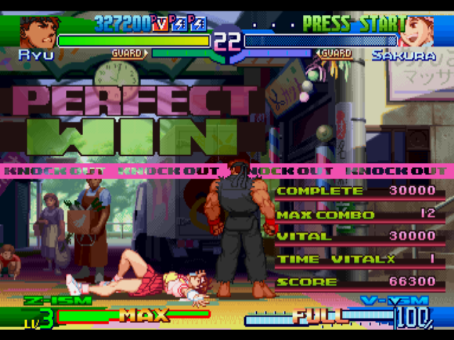"Street Fighter Alpha 3 PlayStation After defeating Sakura in a ""Perfect"" round, Evil Ryu executes one of his victory poses."