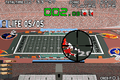 Silent Scope Game Boy Advance Be careful not to shoot innocent bystanders like these football players.