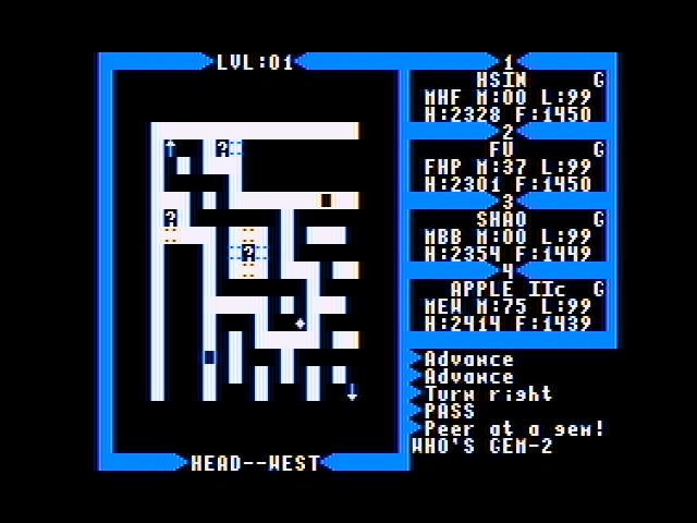 Exodus: Ultima III Apple II Map of a Dungeon