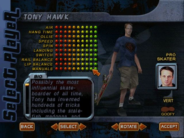 Tony Hawk's Pro Skater 2 Windows Choosing a character. This one is a fully pimped Hawk.