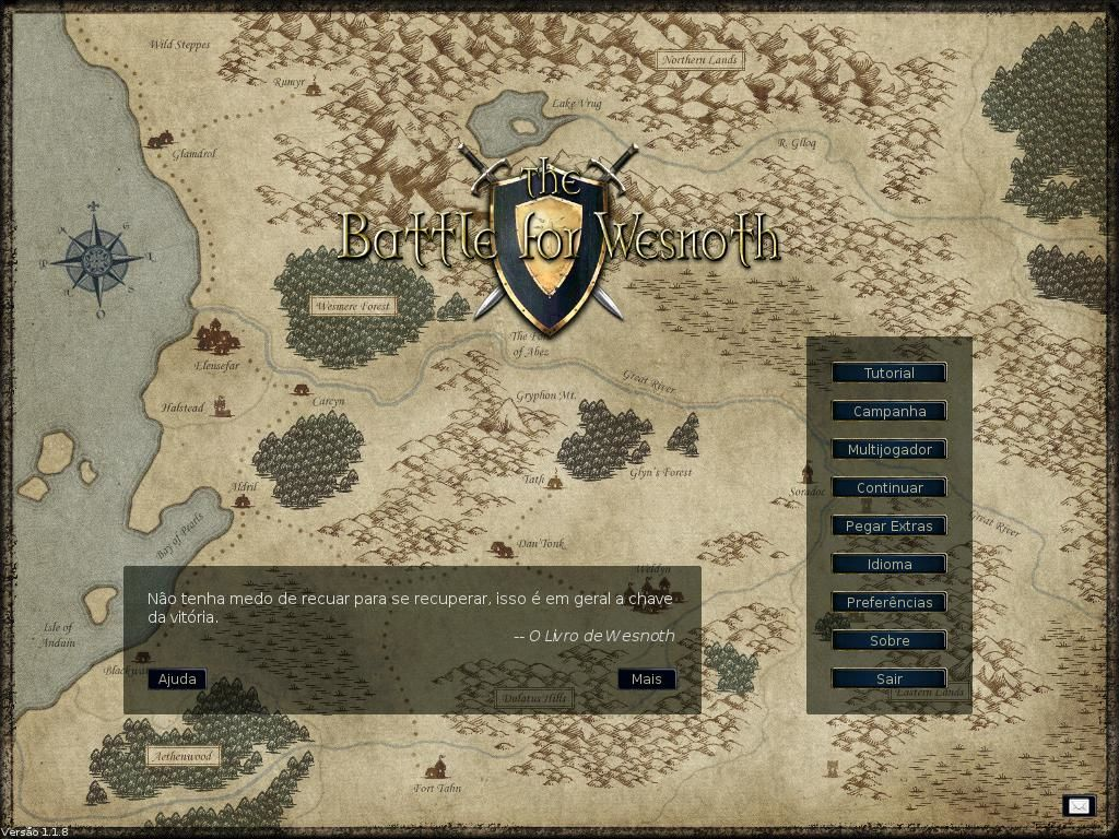 The Battle for Wesnoth Linux Title screen