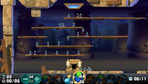 Lemmings PSP Correctly placed blockers can save a lot of lives!