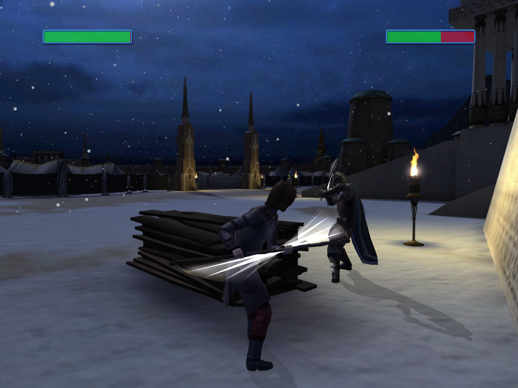 Dreamfall: The Longest Journey Windows A fighting sequence with health bars shown.