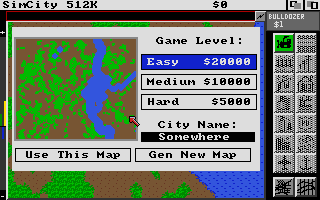 SimCity Amiga Select Difficulty and Terrain