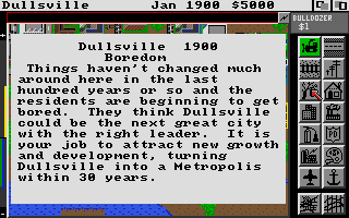 SimCity Amiga Dullsville Instructions