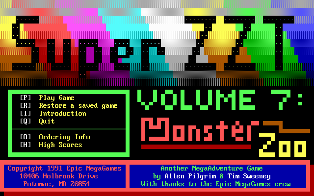 Super ZZT DOS Start menu