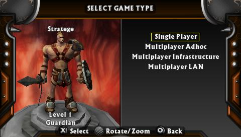 Untold Legends: The Warrior's Code PSP Game mode select screen