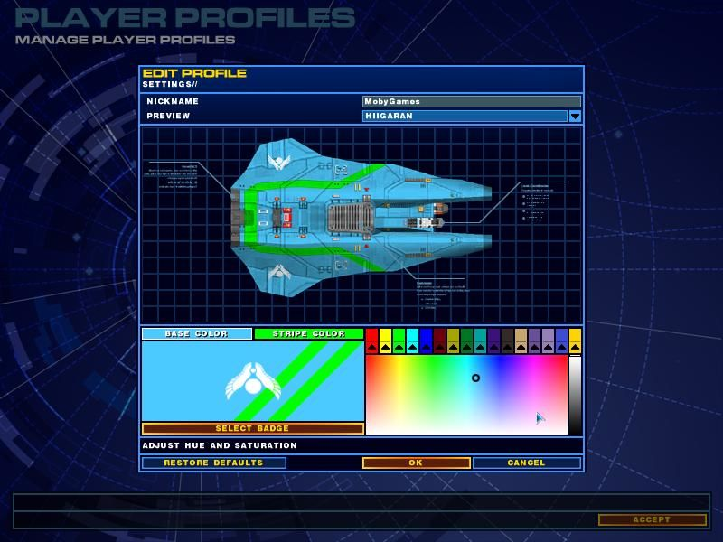 "Homeworld 2 Windows Player Options: Change the ""feel"" of your ships in this screen."