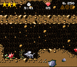 Claymates SNES Oozy attacks with a roar - the shells of these snails bounce off after you hit them